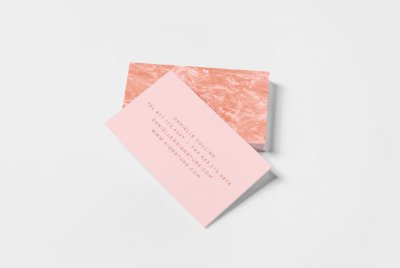 terrain design business cards in pastel and pinkish hues