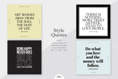 Style Quotes Social Media designs on various stylish square samples