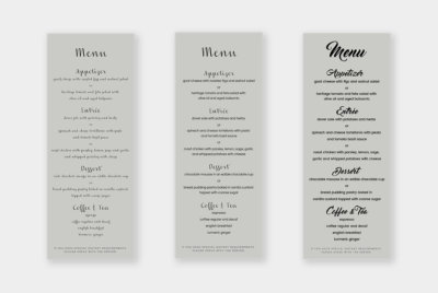 tall menu design templates