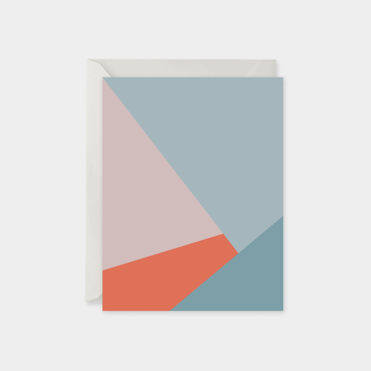 coral and blue color block card