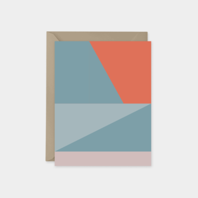 coral and blue color block card set