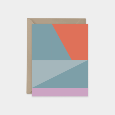pink and blue color block card design