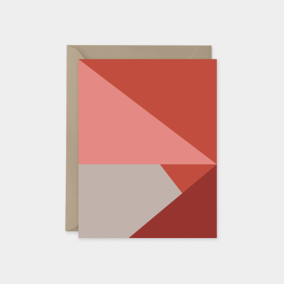 red tan and coral color block card design