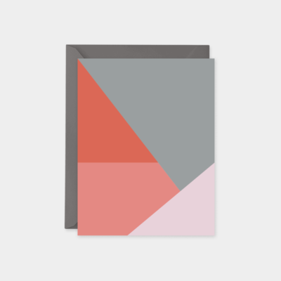 gray pink and red color block card set