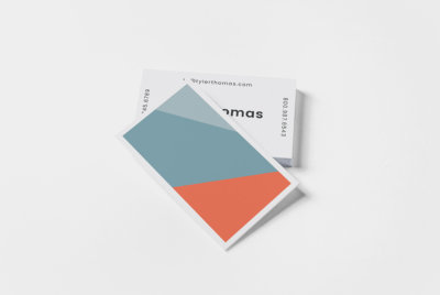 blue and coral color block business card design template