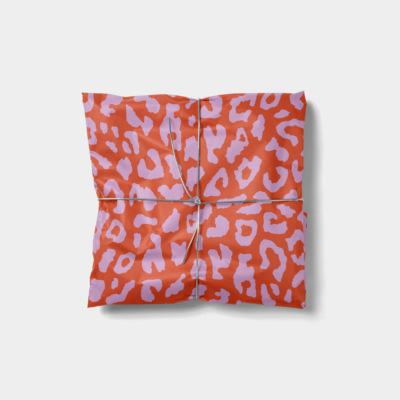 pink and red leopard print gift wrap