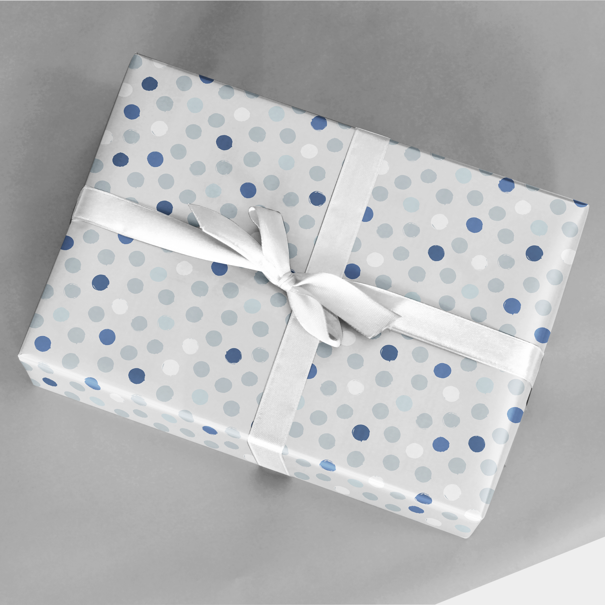 blue and white dot vegetable stamp gift wrap