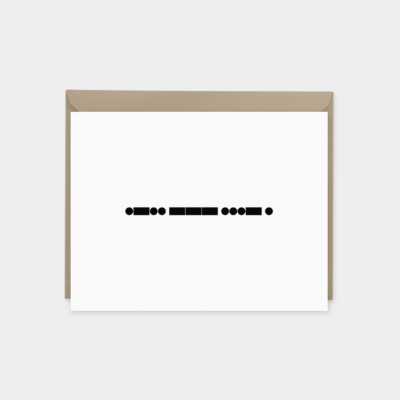 minimal morse code love card black and white