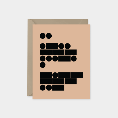 minimal morse code i love you card peach