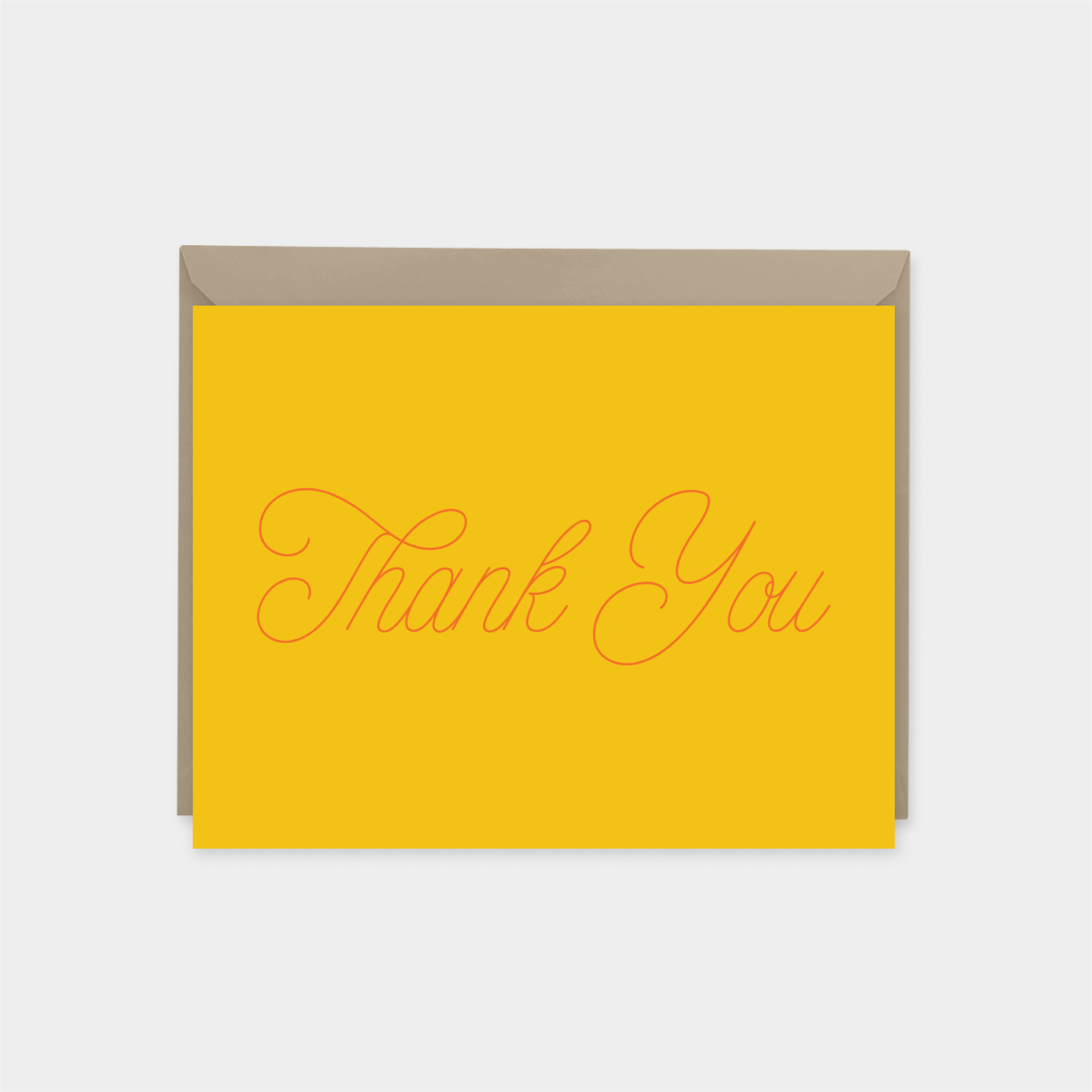 yellow and orange script thank you card