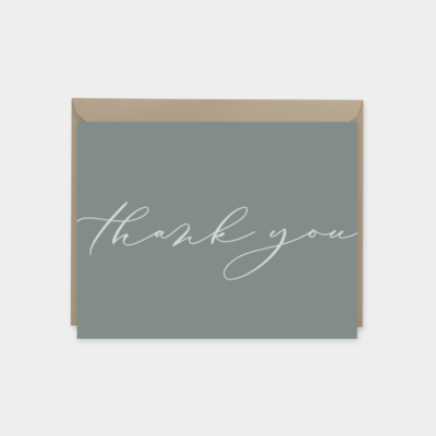 dusty blue elegant script thank you card