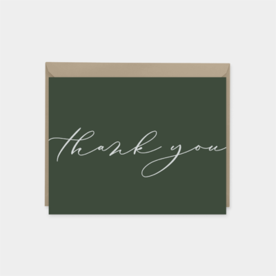 dark green elegant script thank you card