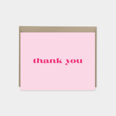 pink stylish thank you card