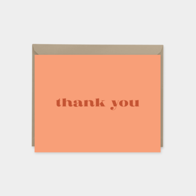 orange stylish thank you card