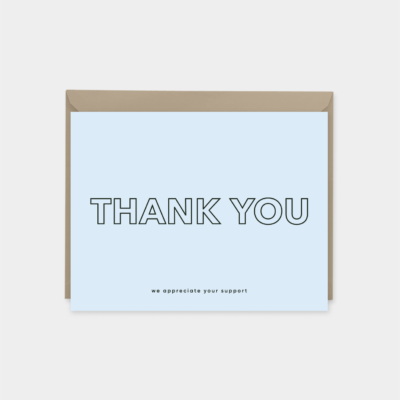 blue modern thank you card