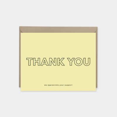 yellow modern thank you card