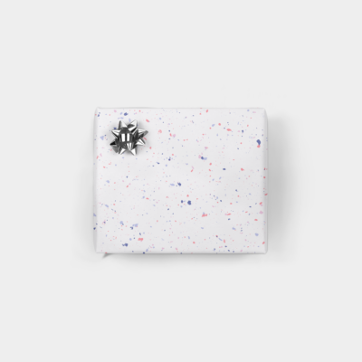colorful pink and purple flecked gift wrap