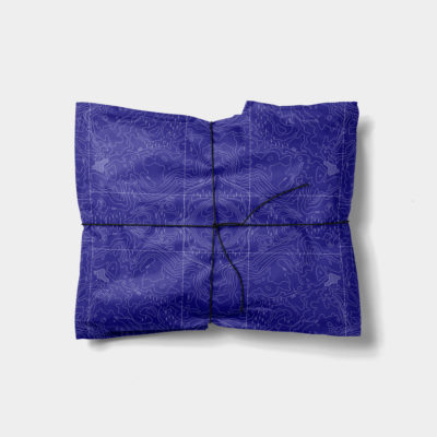 blue topographic map gift wrap