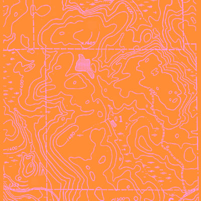 orange topographic map wrapping paper