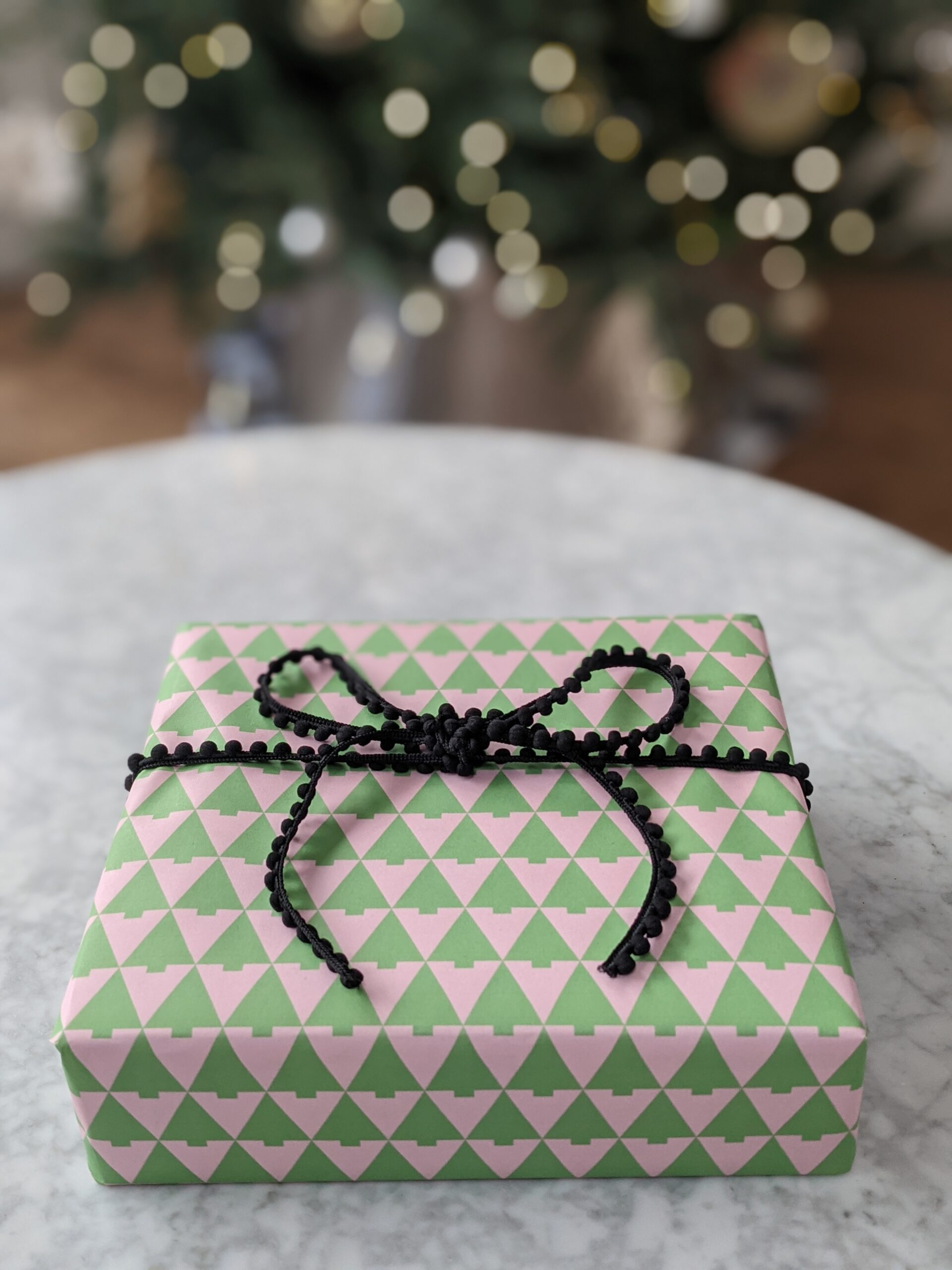 Pink and Green Trees Gift Wrap
