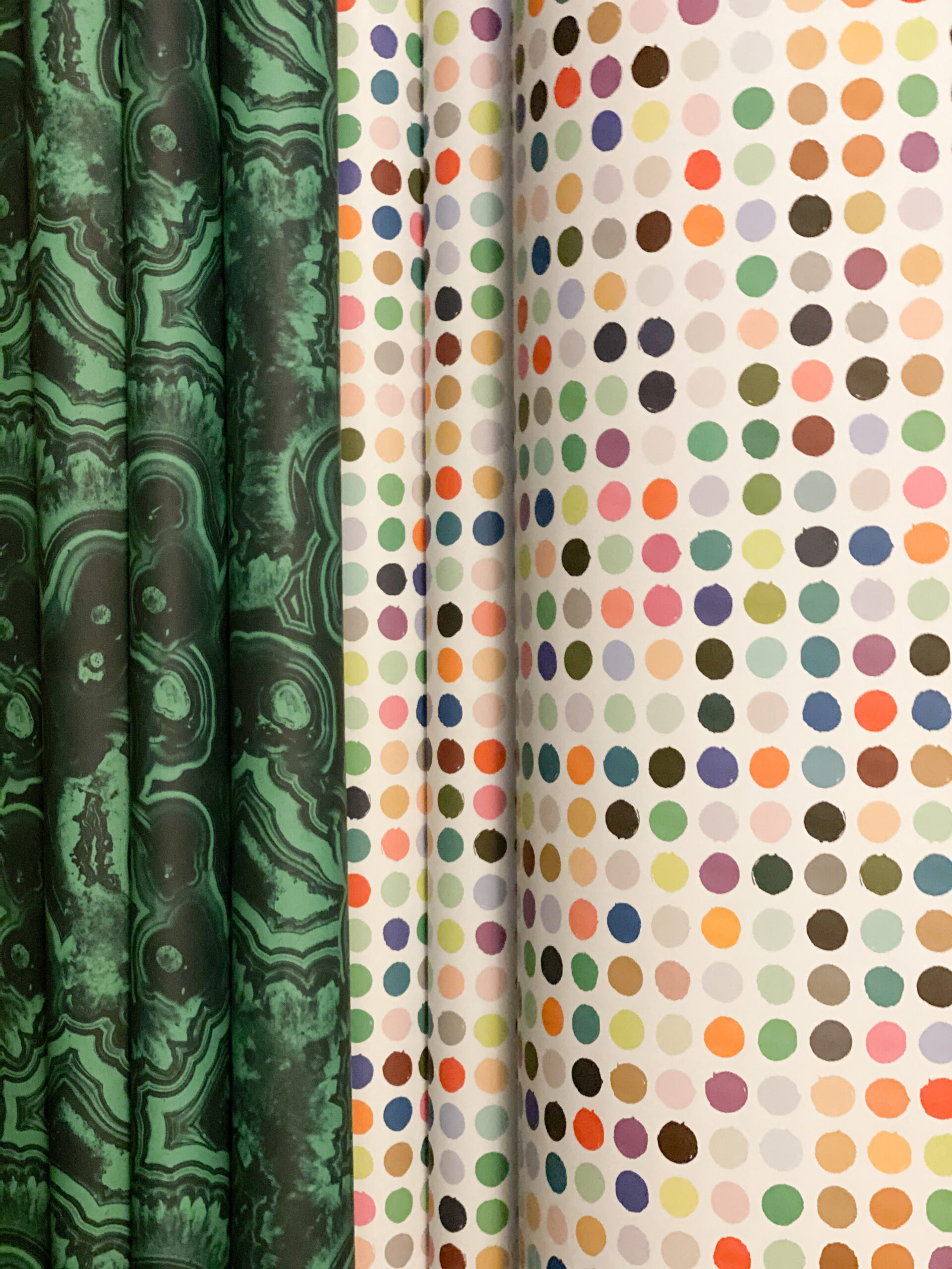 malachite print paper and colorful dots papers