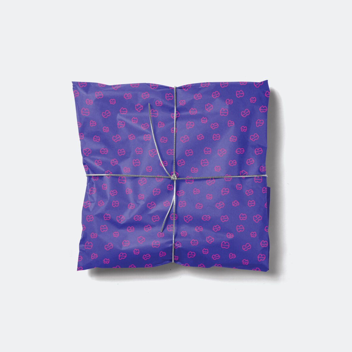 pink blue hand drawn lips gift wrap
