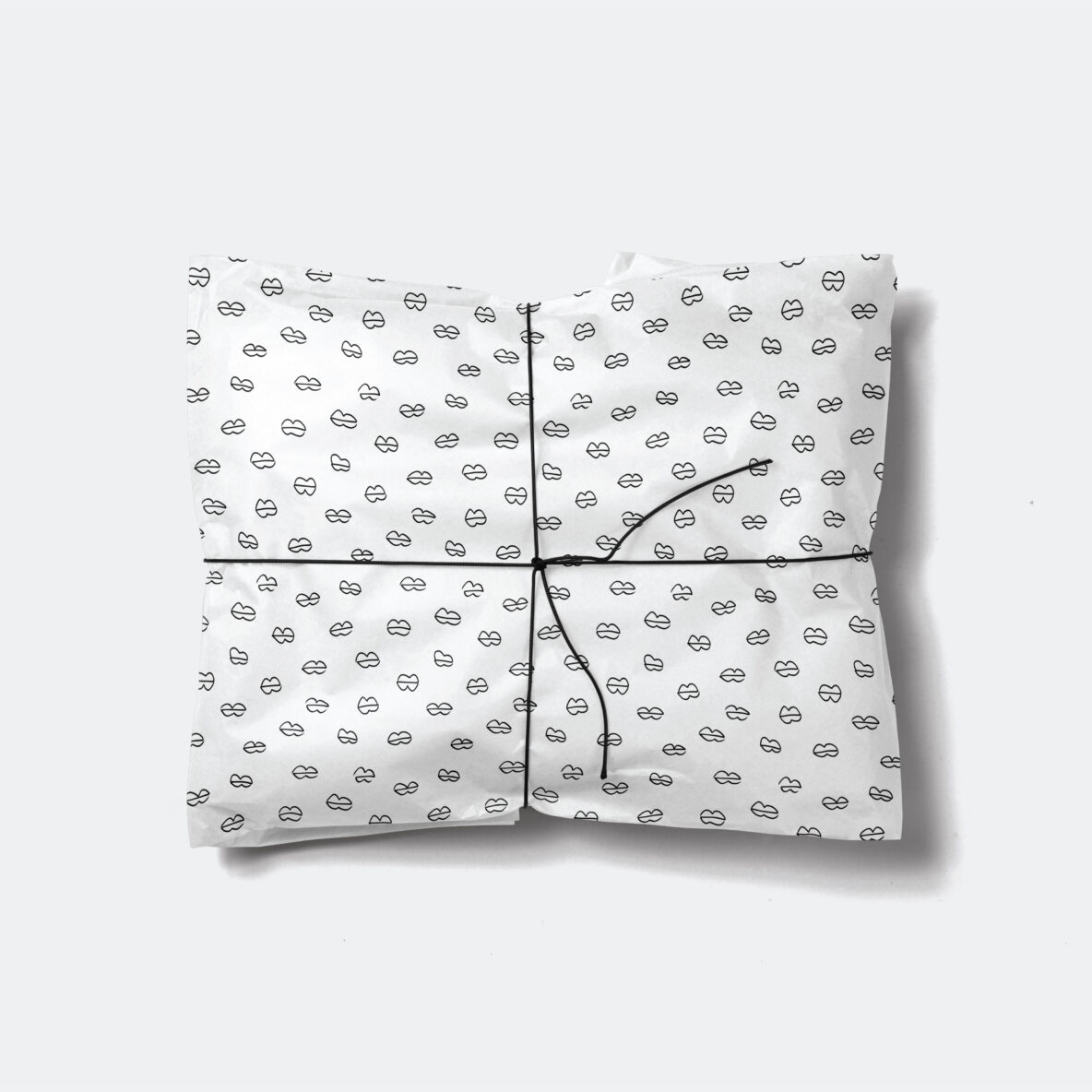 black and white handdrawn lips gift wrap