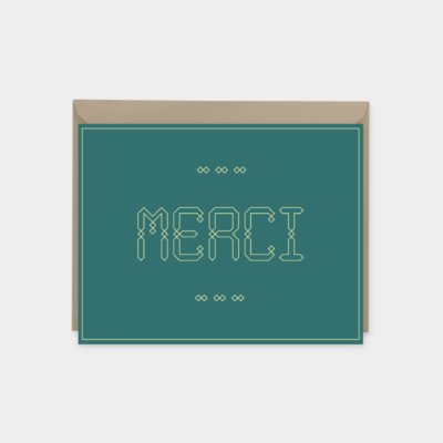 merci french thank you card moroccan font greeting card