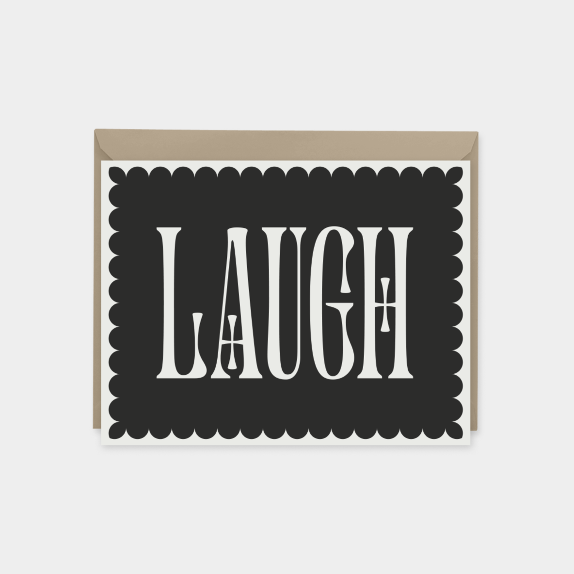 laugh - ornate typography card